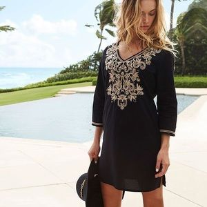Soma Embroidered Cotton Tunic Swim Cover Up Small